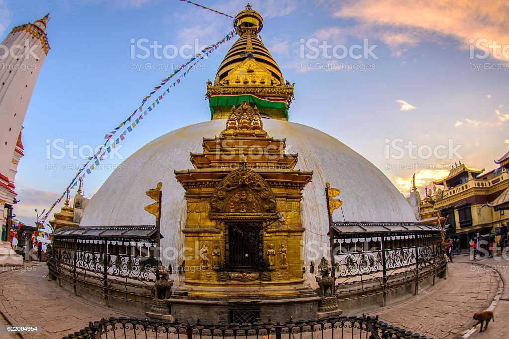Close up beautiful of boudhanath stupa at Kathmandu stock photo
