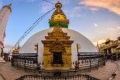 Close up beautiful of boudhanath stupa at Kathmandu