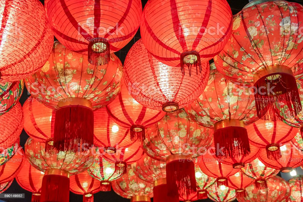 close up Beautiful traditional Chinese Lantern lamp in red color stock photo