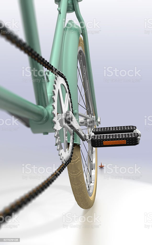 Close Up Bicycle Approaching Danger stock photo