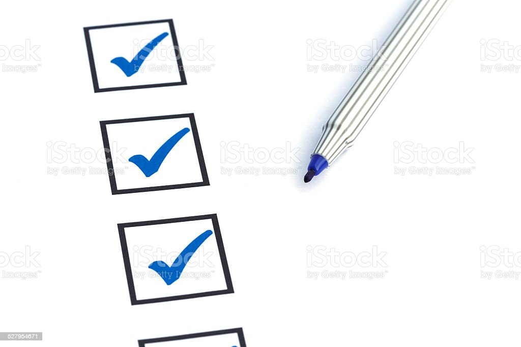 Close up blank checkbox stock photo