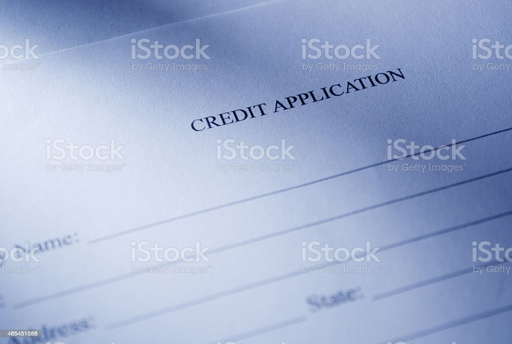 Close up Blank Credit Application Form stock photo