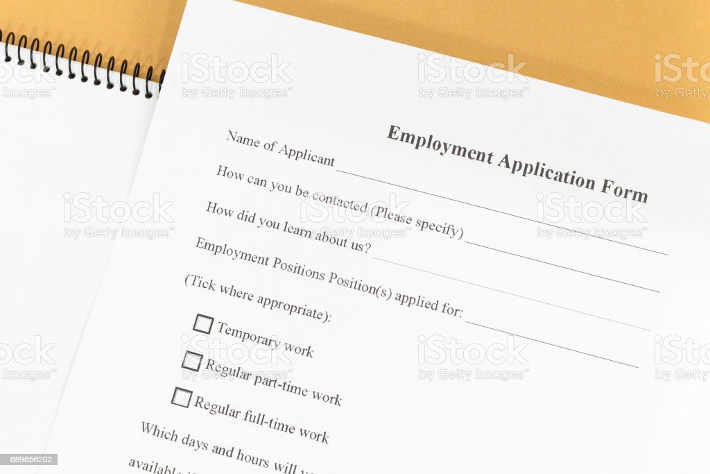 Close - up Blank employment application paper form stock photo