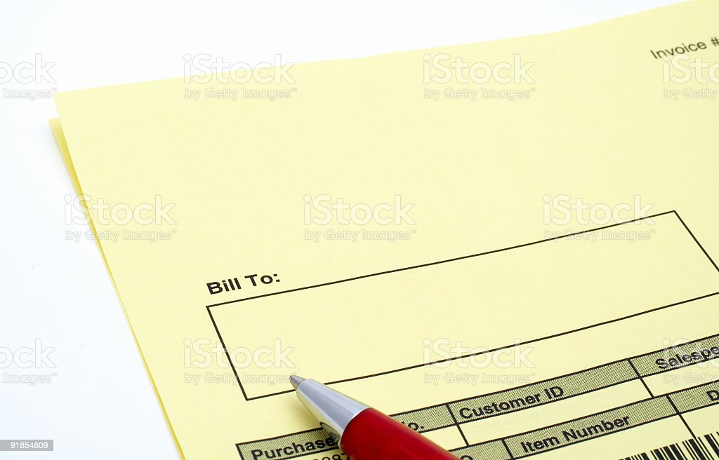 Close up Blank invoice with pen royalty-free stock photo