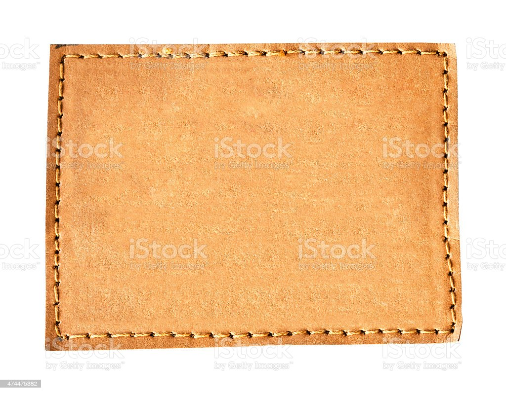 close up brown leather jeans empty on isolated stock photo