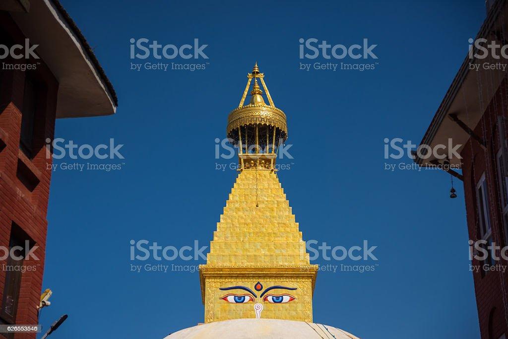 Close up Buddha wisdom eyes on Shree Boudhanath Kathmandu ,Nepal. stock photo