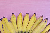 Close up bunch of ripe bananas