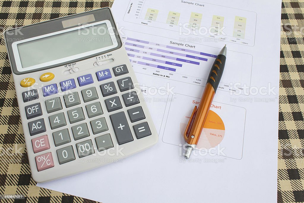 close up calculator with paper royalty-free stock photo