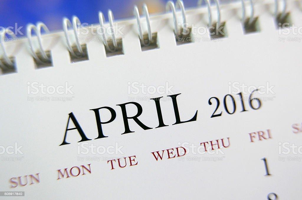 Close up calendar of April 2016 stock photo