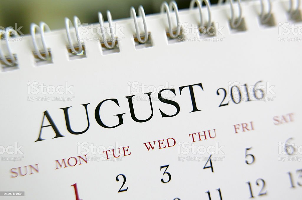Close up calendar of August 2016 stock photo