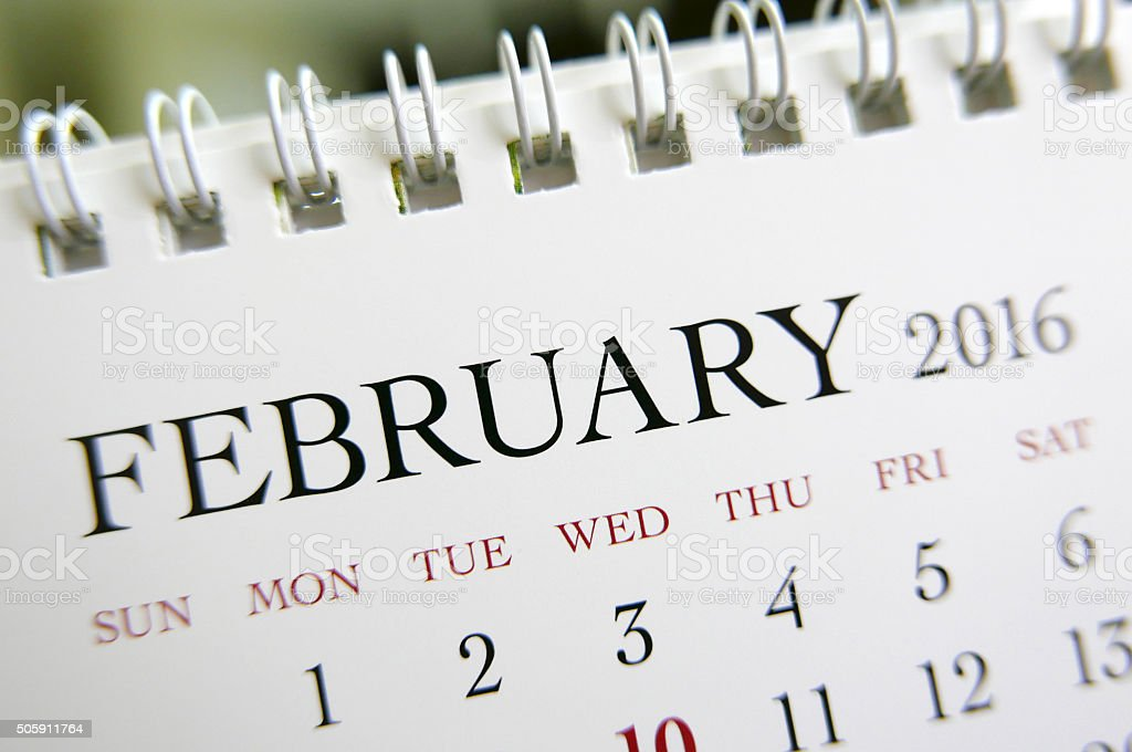 Close up calendar of February 2016 stock photo
