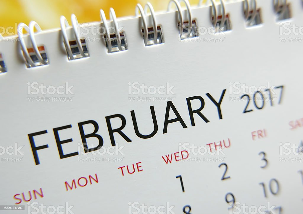 Close up calendar of February 2017 stock photo