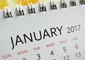 Close up calendar of January 2017