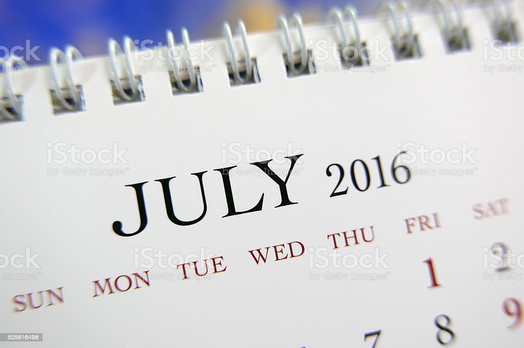 Close up calendar of July 2016 stock photo