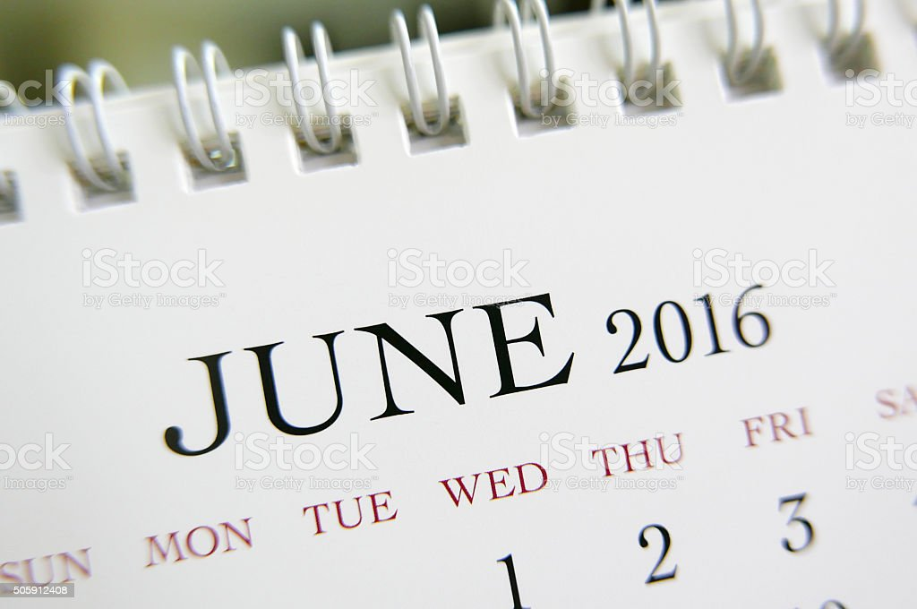 Close up calendar of June 2016 stock photo