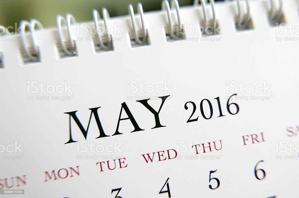 Close up calendar of May 2016 stock photo