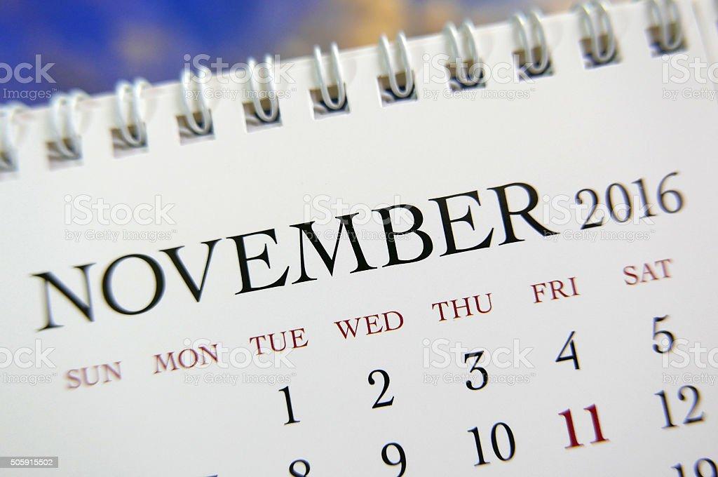 Close up calendar of November 2016 stock photo
