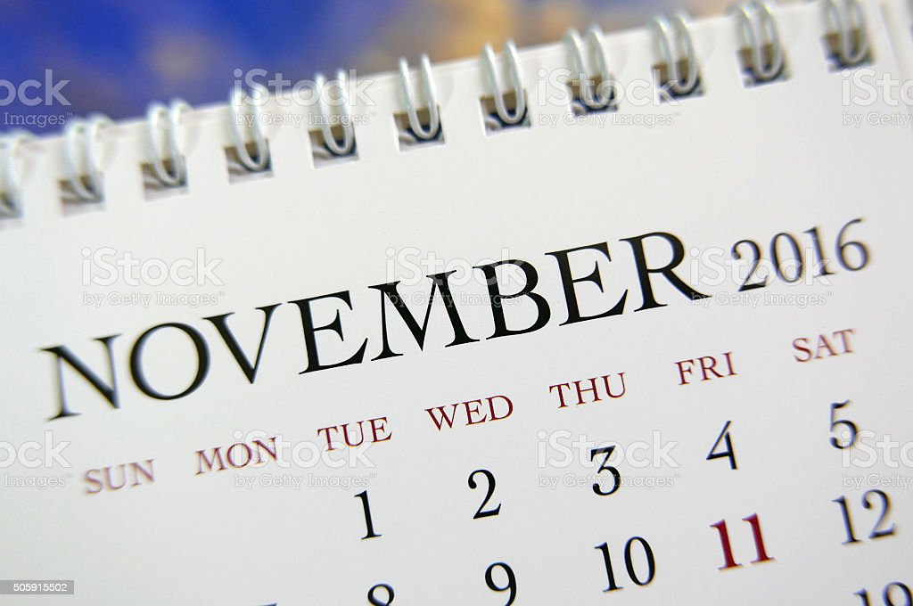 Close up calendar of November 2016 stock photo