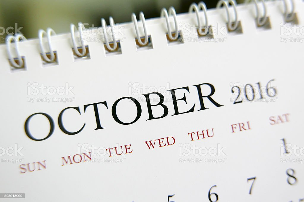 Close up calendar of October 2016 stock photo