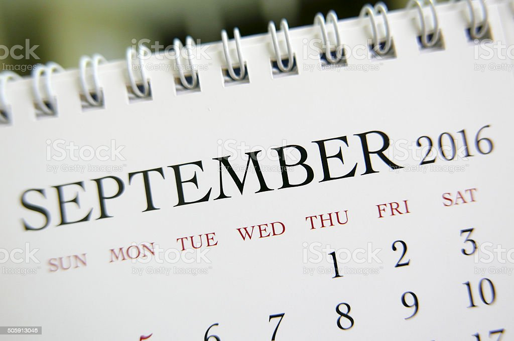 Close up calendar of September 2016 stock photo