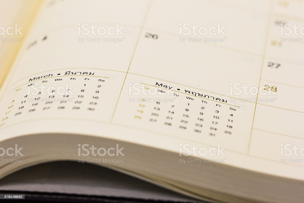 Close up calendar on the book stock photo