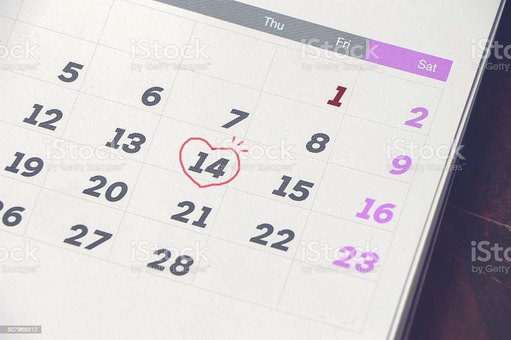Close up calendar with mark stock photo