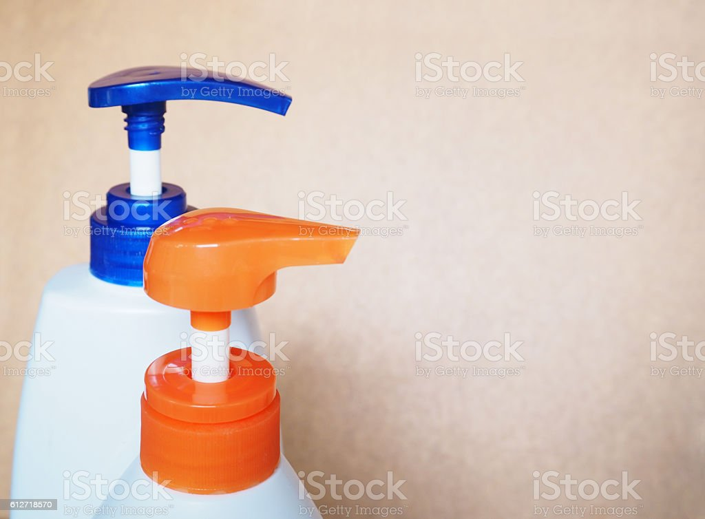 Close up cap of plastic pumping lotion bottle stock photo