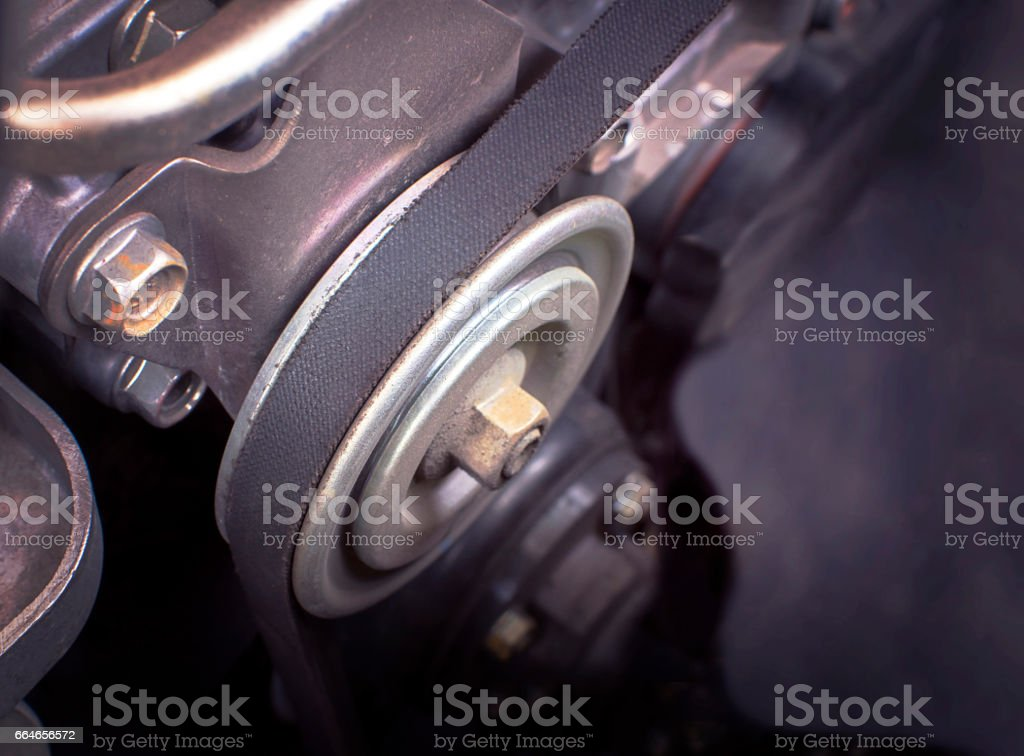Close up car timing belt in engine room. stock photo