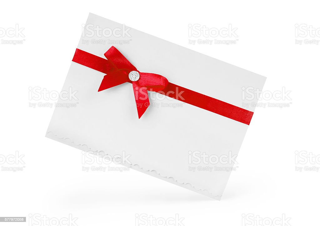 close up  card note with red ribbon on white background stock photo