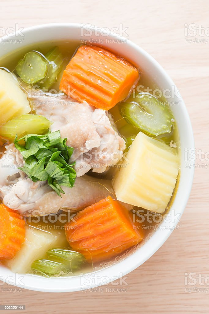 Close up, Chicken soup. stock photo