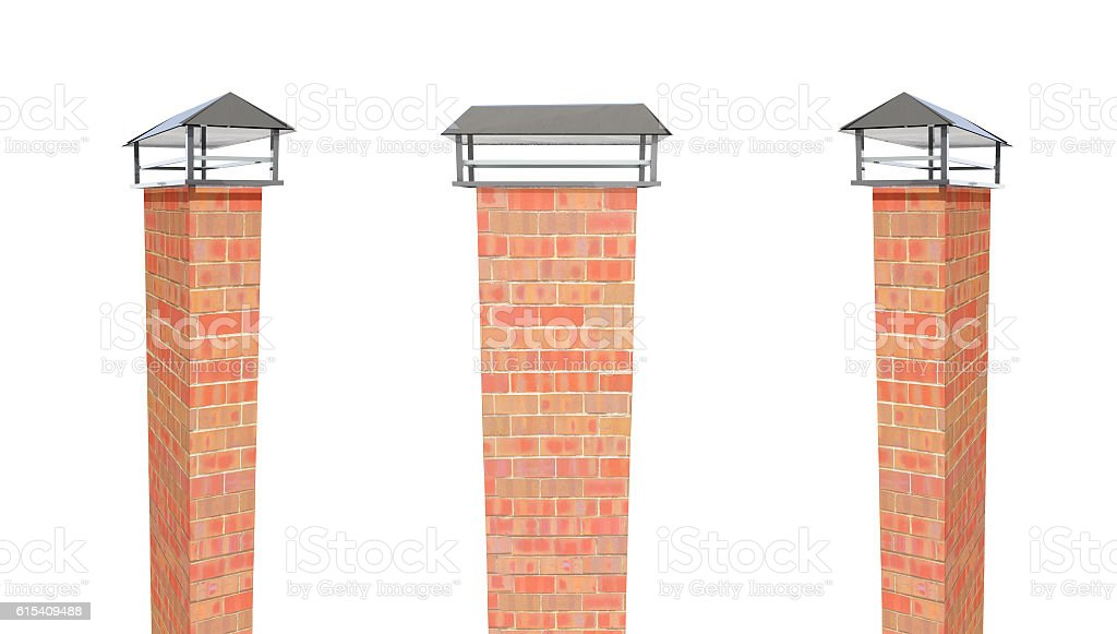 Close up chimney on the roof 3d render stock photo