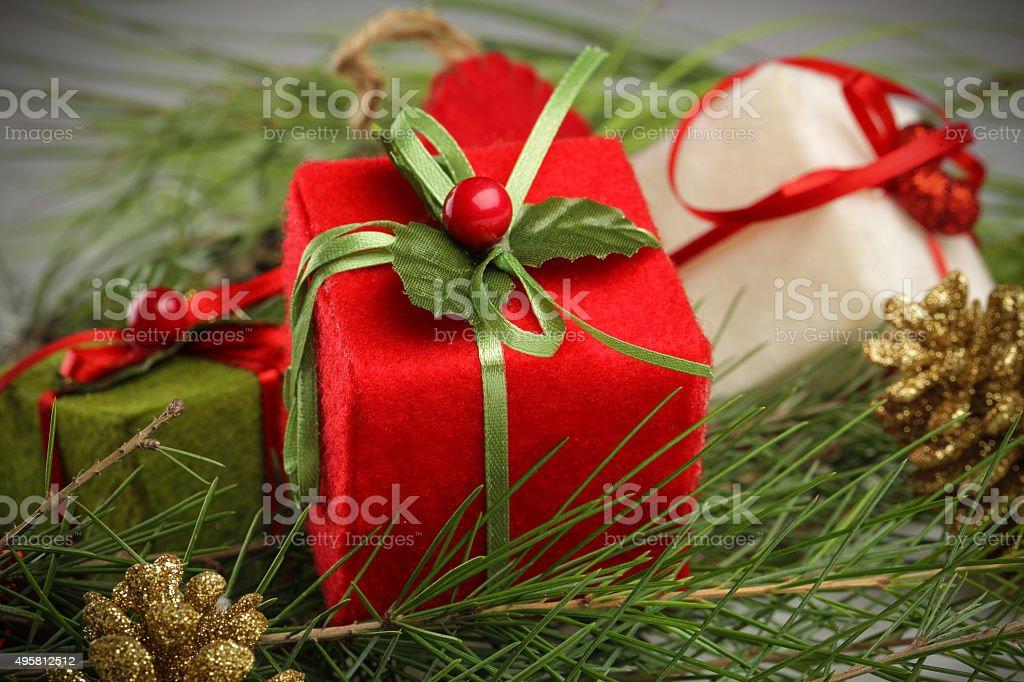 close up christmas gift decoration stock photo