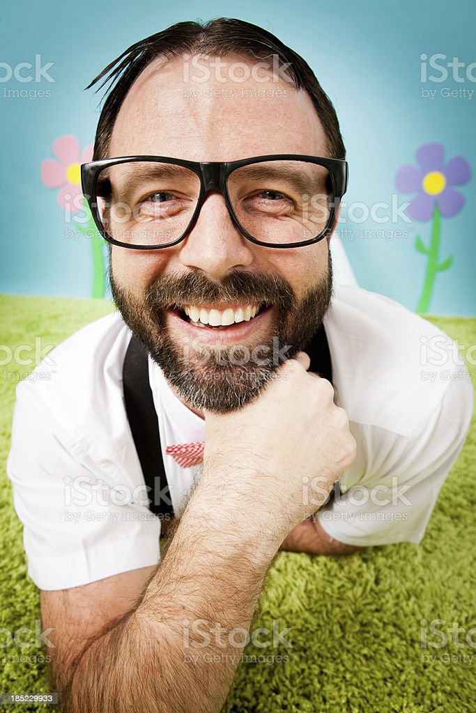 Close Up Color Image of Nerdy Man Smiling stock photo