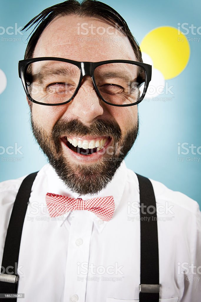 Close Up Color Image of Nerdy Man With Big Grin stock photo