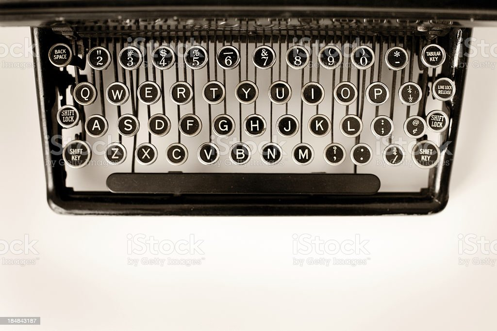 Close Up Color Image of Vintage Black Typewriter Keys royalty-free stock photo