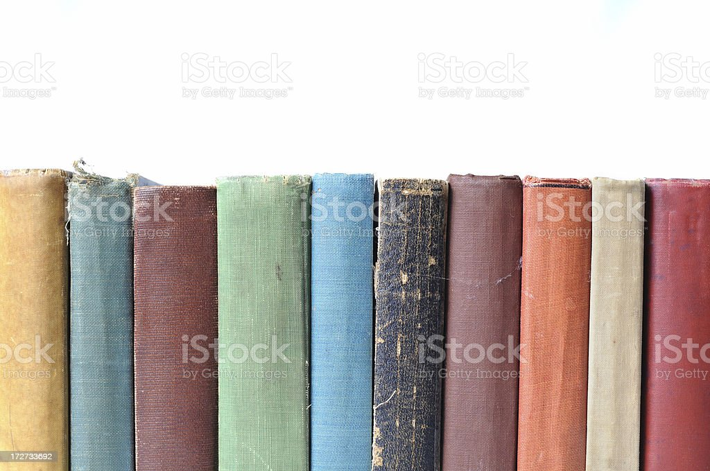 Close Up Color Image of Vintage Books, With White Background royalty-free stock photo
