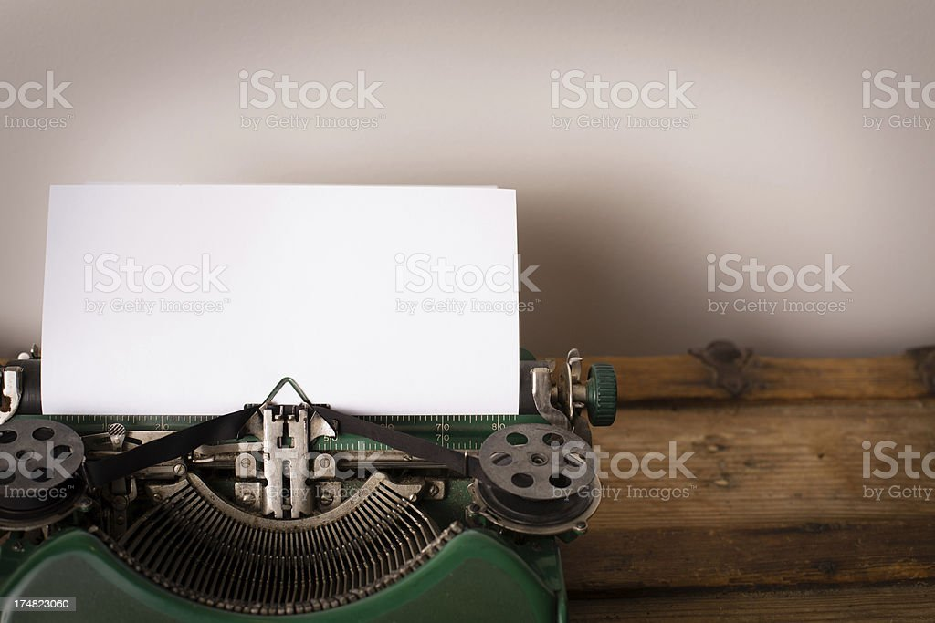 Close Up, Color Image of Vintage Green, Manual Typewriter royalty-free stock photo