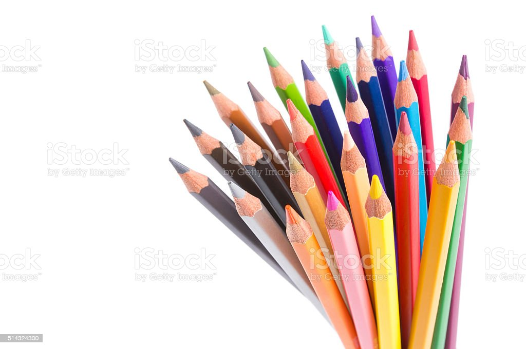 Close up color pencils isolated on white. stock photo