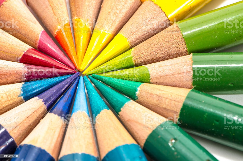 close up color pencils warm colors and cool tones stock photo