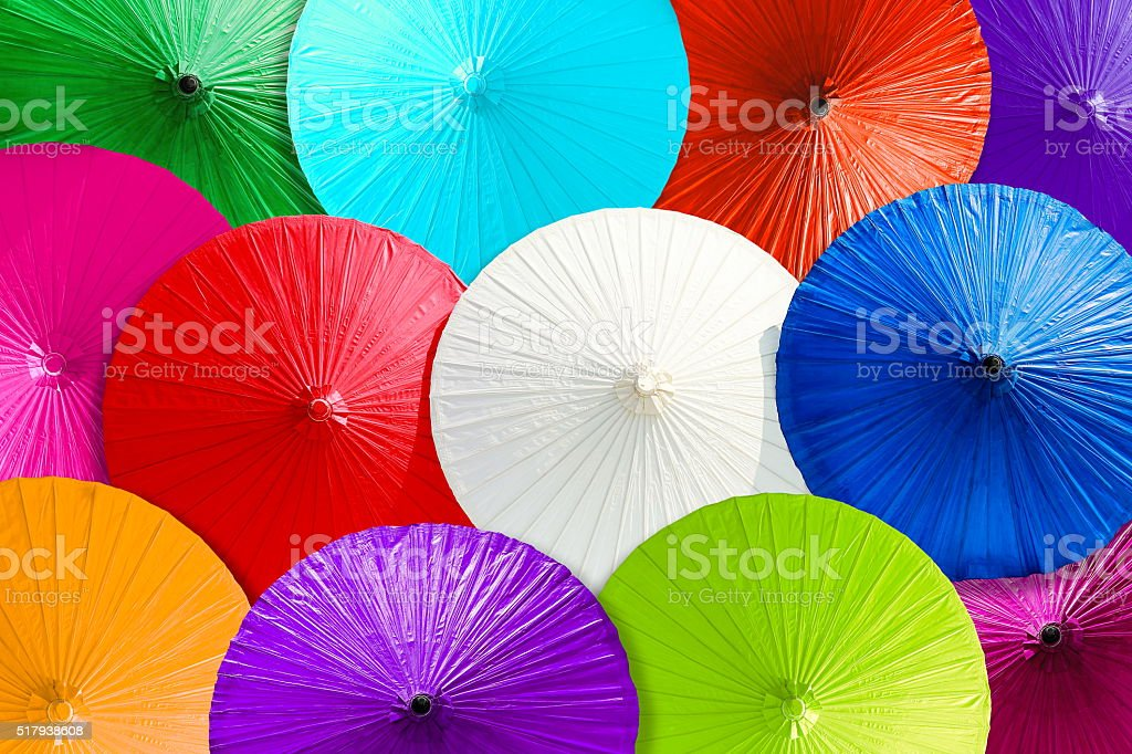 Close up colorful abstract of umbrellas background. stock photo