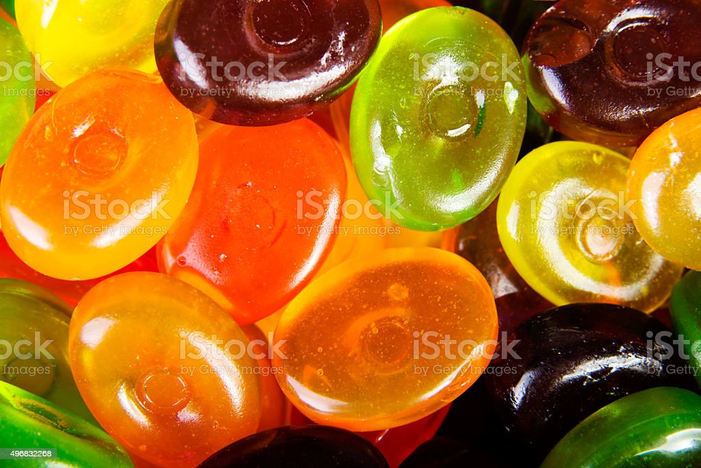 Close up colorful hard candies stock photo