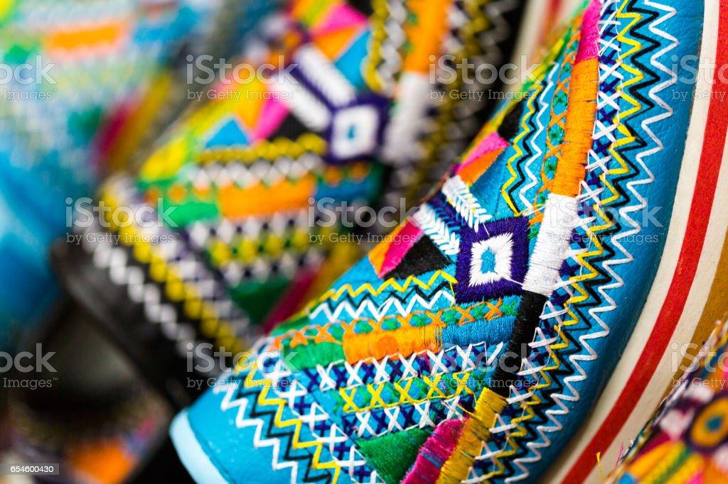 Close up colourful ornament on slipper stock photo