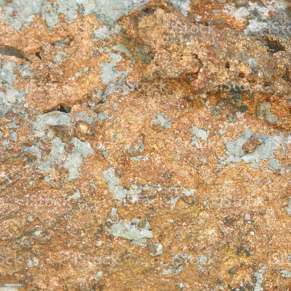 close up copper mineral in stone stock photo