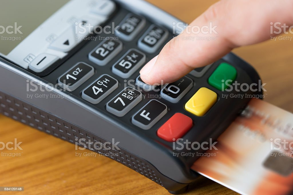 Close up Credit card payment wood background stock photo