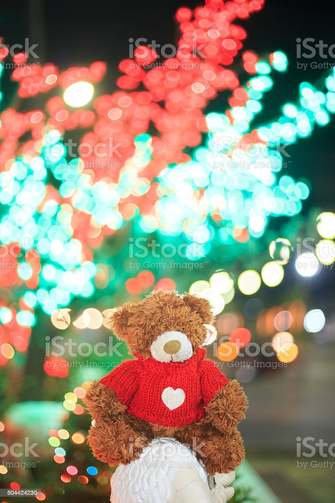 Christmas Tree Doll Fur Heart Shape Number 1 Close Up Cute Bear On Beautiful Light Background