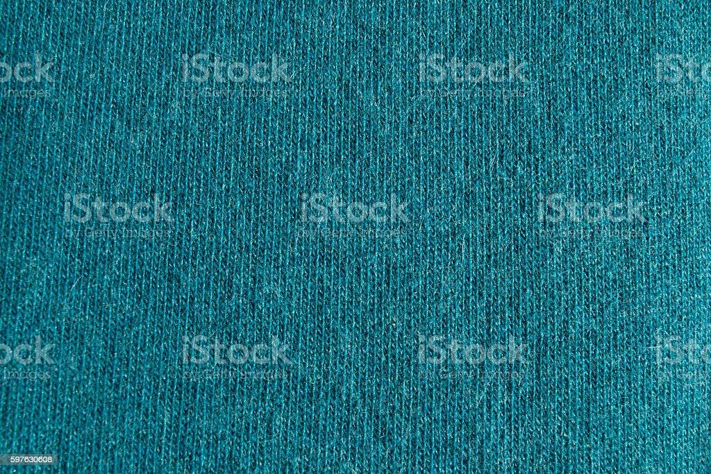 Close up cyan woollen knitted fabric texture. Angora background stock photo
