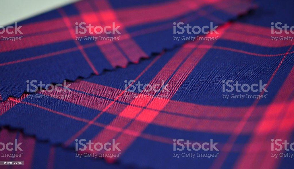 close up dark blue and red scott fabric of shirt stock photo
