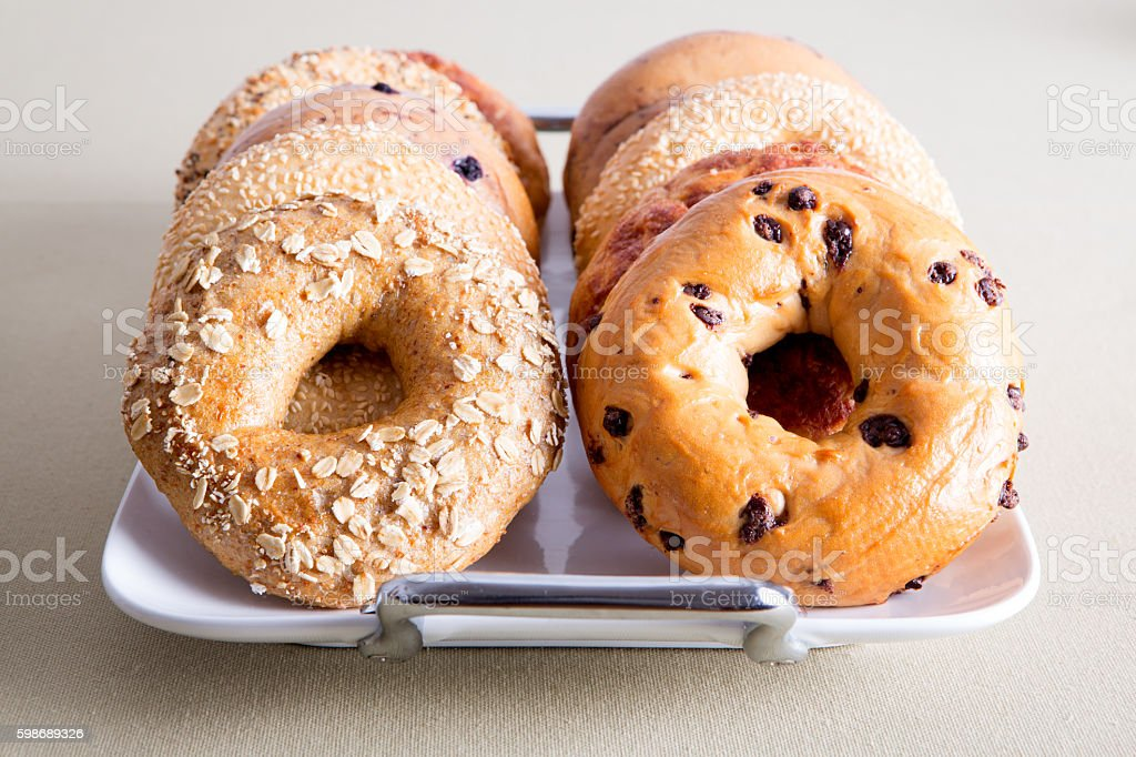 Close up Delicious Bagel Breads on White Tray stock photo