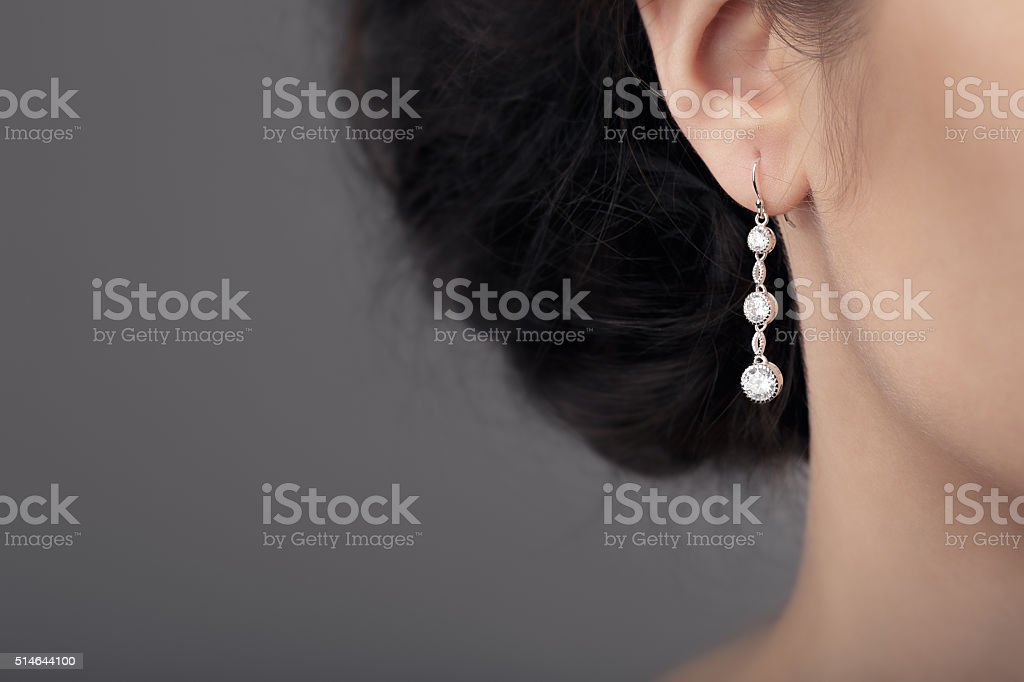 Close up Detail of a Beautiful Earring in Glamour Shot stock photo