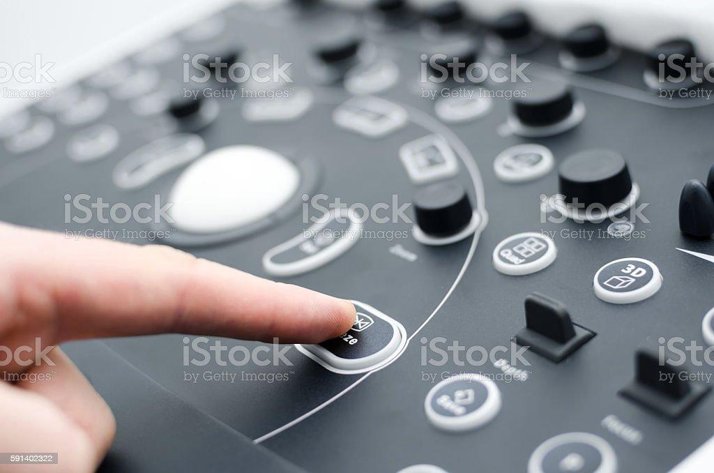 Close up detail of an medical ultrasound machine keyboard. stock photo